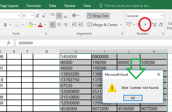 Lỗi Style comma not found Excel 2016 2007 2010 2013