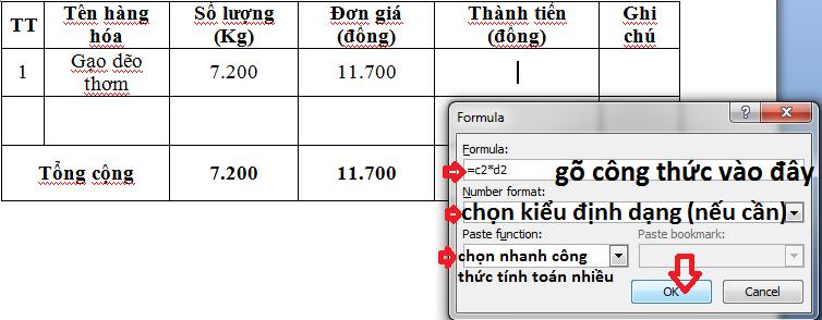 Hướng dẫn cách tính toán trong Word 2007, Word 2010, Word 2013