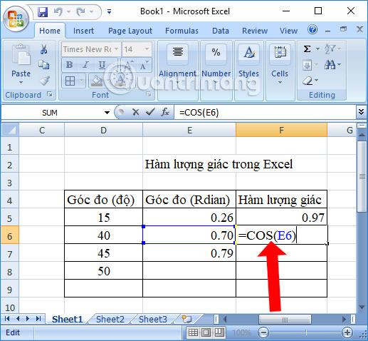 Tổng hợp các hàm số lượng giác trong Excel