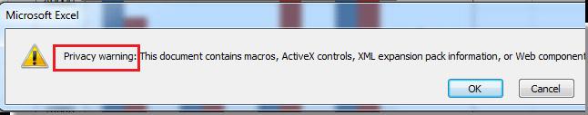 Cách tắt thông báo Privacy Warning trên Excel