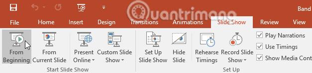 Trình bày slide show trong PowerPoint 2016