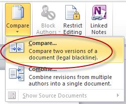 Sử dụng tính năng so sánh tài liệu trong Word 2010