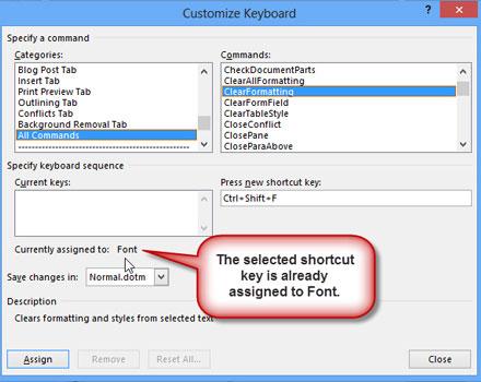 Cách bổ sung, chỉnh sửa phím tắt trong Word 2013