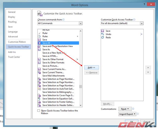 Thêm tùy chọn Save và Close All các tài liệu Documents trong Word