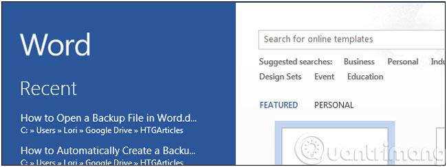 Làm thế nào để mở tập tin sao lưu trong Word 2013?