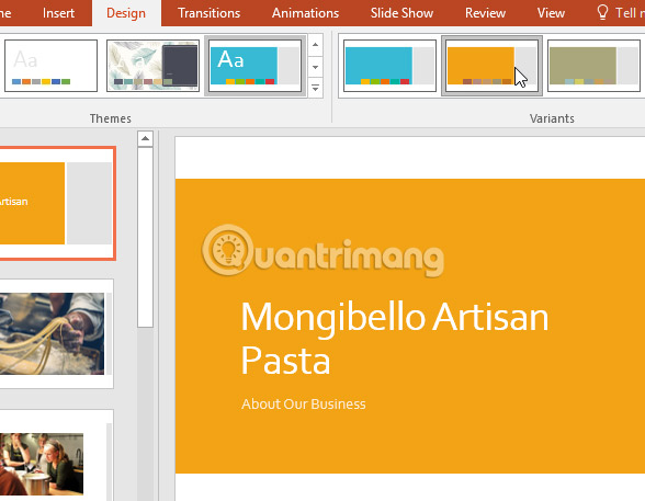 Áp dụng theme trong PowerPoint 2016