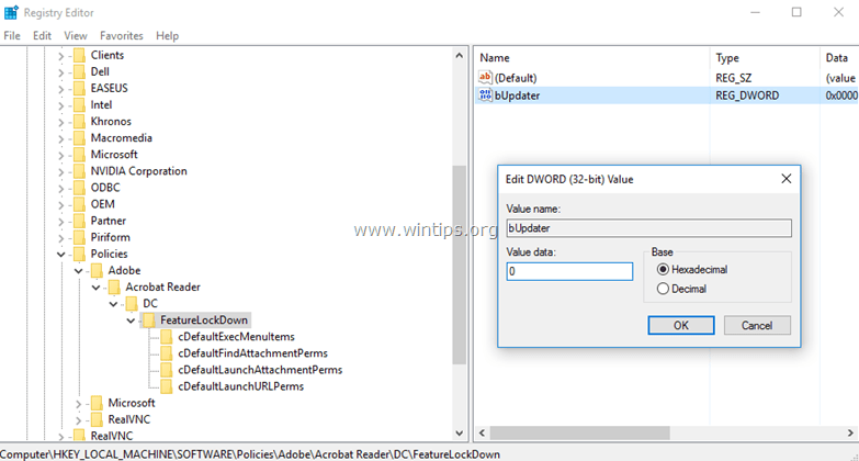 Vô hiệu hóa tự động cập nhật Adobe Reader DC