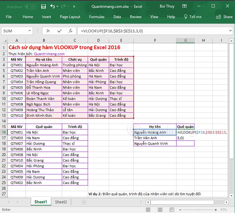 Hàm VLOOKUP cách sử dụng và ví dụ cụ thể