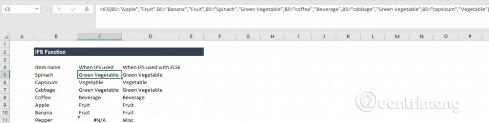 Cách sử dụng hàm IFS trên Excel 2016