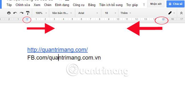 Căn chỉnh lề trong Google Docs