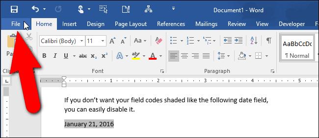 Làm thế nào để xóa màu nền một trường trong văn bản Word?