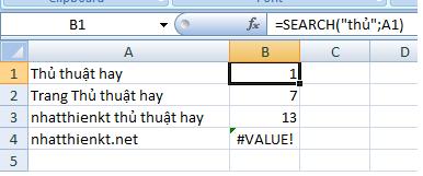 Ứng dụng hàm Search trong Excel - Tin học văn phòng