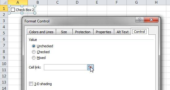 Thêm hộp kiểm vào bảng tính Excel