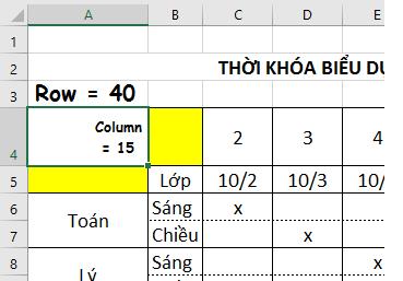 Tạo đường gạch chéo Excel 2016 - Tạo bảng thời khóa biểu