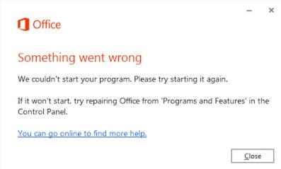 """Office 2016 bị lỗi """"Something went wrong"""" không mở được word"""