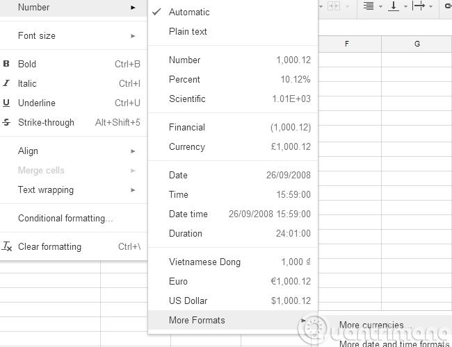 Làm thế nào để chuyển đơn vị tiền tệ của từng cột, hàng trong Google Sheet