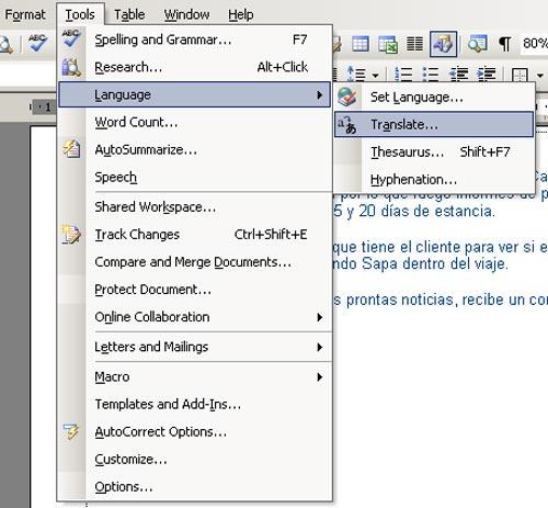 Dịch nhanh văn bản bằng Microsoft Word 2003