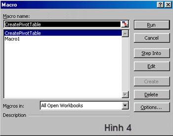 Dùng VBA trong Excel để tạo và sửa chữa PivotTable