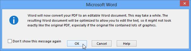 Hướng dẫn chỉnh sửa file PDF bằng Word 2013