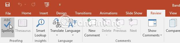 Kiểm tra chính tả và ngữ pháp trong PowerPoint 2016