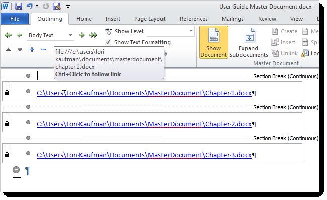 Tạo Master Document trong Word 2010 từ nhiều file Word