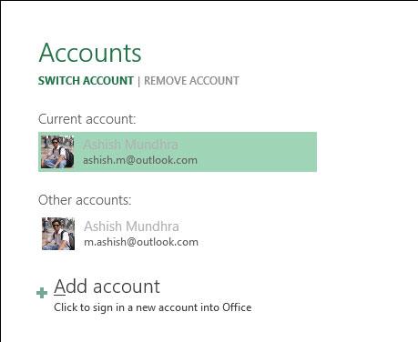 Hướng dẫn bổ sung và sử dụng nhiều tài khoản trên MS Office 2013