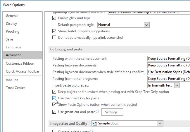 Sử dụng phím Insert để chèn văn bản sao chép trong Word như thế nào?