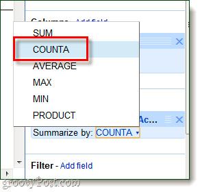 Sử dụng Pivot Table trong Google Docs Spreadsheet