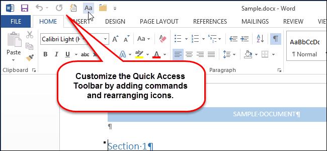 Thủ thuật tùy biến thanh công cụ Quick Access Toolbar trên Office 2013