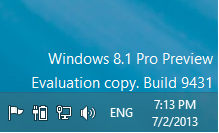 "Hướng dẫn xóa bỏ (Watermark) dòng ""Windows 8.1 Pro Preview Evaluation copy Build 9431"" trên WIN 8.1 PRO PREVIEW 2"