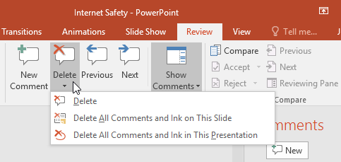 Review bài thuyết trình trong PowerPoint 2016
