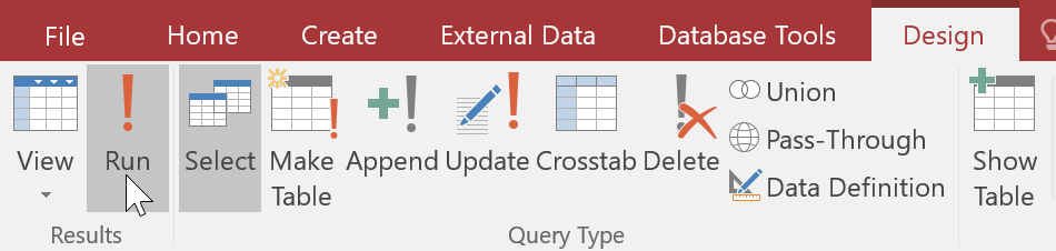 Các tùy chọn tạo truy vấn dữ liệu trong Access 2016
