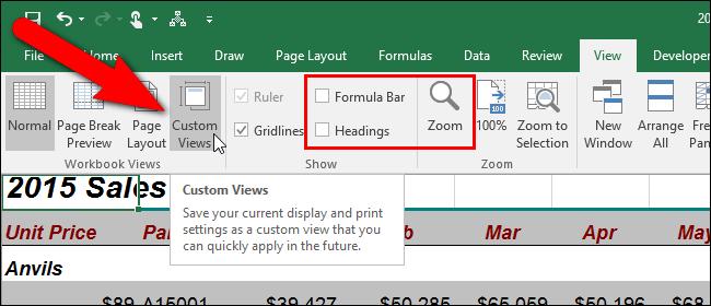 Sử dụng Custom Viewsđể xem bố cục bảng tính cụ thể trong Excel