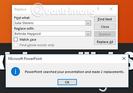 Sử dụng tính năng Find & Replace trong PowerPoint 2016