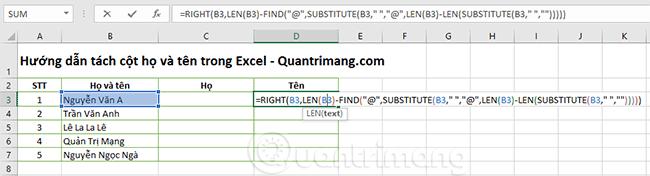 2 cách tách cột Họ và Tên trong Excel
