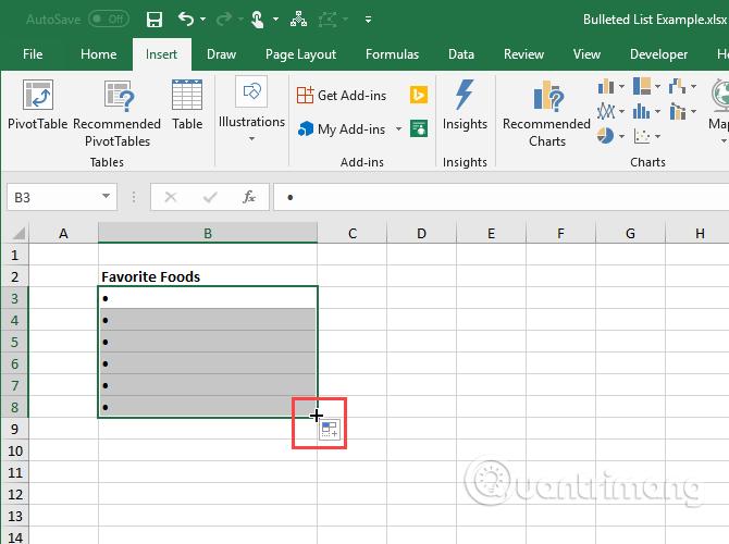 Cách tạo danh sách dạng bullet trong Excel