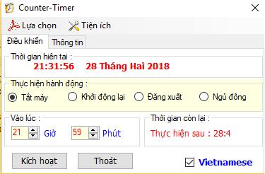 Phần mềm hẹn giờ tắt máy tính Tiếng Việt dể sử dụng