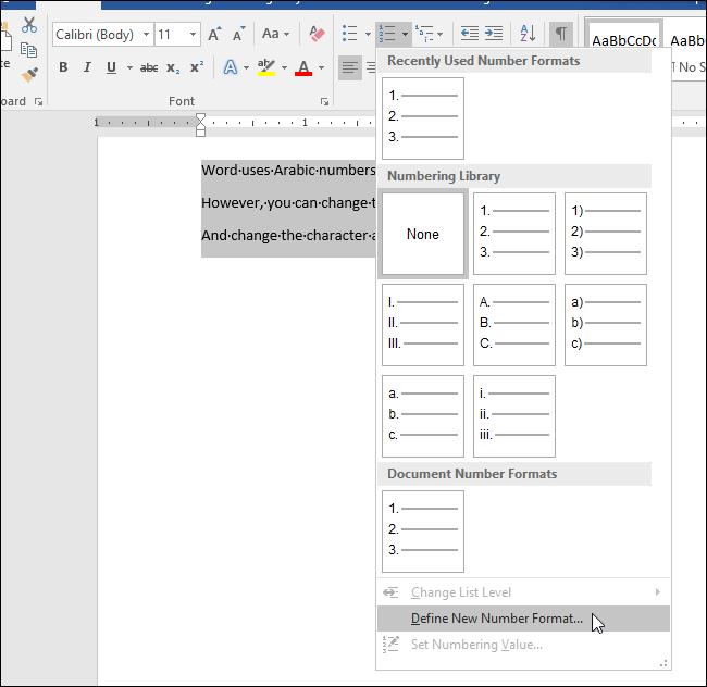 Hướng dẫn thay đổi kiểu số khi liệt kê một danh sách sử dụng trong Word