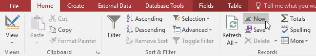 Làm việc với dữ liệu trong Access 2016