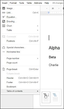 Cách thêm và cập nhật mục lục trong Google Docs