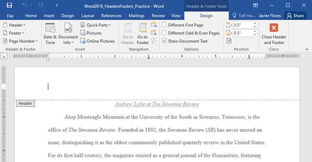 Hướng dẫn toàn tập Word 2016 (Phần 14): Tiêu đề trang (Header) và chân trang (Footer)