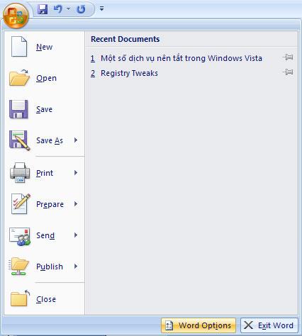 Tùy chỉnh phím tắt trong Word 2007