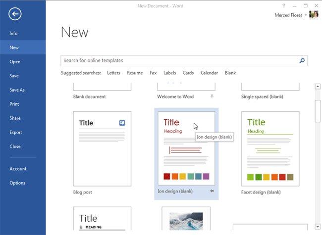 Hướng dẫn toàn tập Word 2013 (Phần 2): Cách tạo mới và mở tài liệu có sẵn