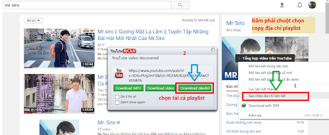 Launch YouTubeByClick Full key - Download album, playlist youtube, Dailymotion, Vimeo, Facebook,.. bằng một nhấp chuột